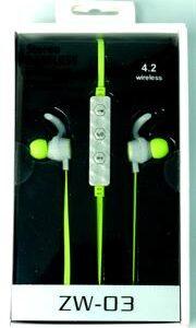 Geeko ZW-03 Wireless Bluetooth Earphones , BT4.2 , Rechargeable Polymer Lithium-on Battery -Green, Retail Box , 1 year Limited Warranty