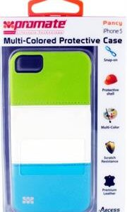 Promate Pancy iPhone 5 Multi-Colored Protective Case Colour: Green/White/Blue, Retail Box , 1 Year Warranty