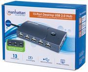 Manhattan Hi Speed 13 Port Desktop USB Hub – 13 Ports, USB 2.0, AC/Bus Power Hub with Multiple Transaction Translator and 2.4 A Fast Charge Capable , Retail Box, Limited Lifetime Warranty