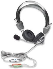 Manhattan Stereo Headset + Microphone with in-line volume control, Retail Box, Limited Lifetime Warranty