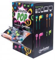 Manhattan SoundPOP Earphone Countertop Display/Dispenser- Assembled Countertop Display, Includes 40 Individually Packaged Earphones, Colours: Teal/Yellow, Blue/Orange, Pink/Fuschia, Black/Green, Retail Box, Limited Lifetime Warranty