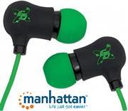 Manhattan Sound Science Nova Sweatproof Earphones – Lightweight Sweatproof Earphones with In-Line Mic, Black-Green, Retail Box, Limited Lifetime Warranty