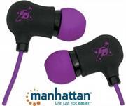 Manhattan Sound Science Nova Sweatproof Earphones – Lightweight Sweatproof Earphones with In-Line Mic, Black-Purple, Retail Box, Limited Lifetime Warranty