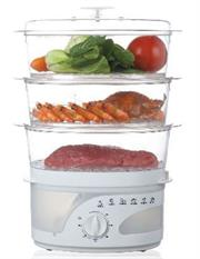 Mellerware 3 Tier 9 Litre Food Steamer -3 Layers Food Steamer, 60 Min Timer With Bell, 9lire Total Capacity, Overheat Protection, Transparent Water Tank, Retail Box 1 Year Warranty
