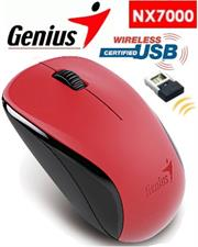 Genius NX-7000 2.4Ghz wireless 3-button mouse – 1200 dpi BlueEye sensor, USB Pico receiver, power switch extends battery life – Red, Retail Box , 1 year Limited warranty