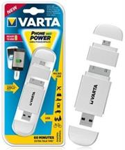 Varta Mini Powerpack Charger-Smart 2-In-1 Solution-Compatible with all Micro USB and Apple® 30-pin devices-400mAh Lithium-ion rechargeable battery-White, Retail Box , No Warranty