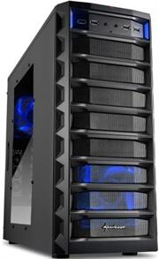 Sharkoon REX8 Value Edition Gaming ATX Midi Tower Case – 4x 5.25″ drive bays (external), 4x 2.5″/ 3.5″/ 5.25″mounting bays (external), 2x USB3.0 , 4x USB2.0, 2x audio connectors,Mesh front panel, Dimensions: 485 x 185 x 420 mm – Black, Retail Box , 1 Year warranty