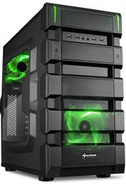 Sharkoon BD28 ATX Format PC Case – Green, ATX case, USB3.0, 2 openings for water cooling, Cable management system, Supports VGA cards up to 32.5 cm; Dimensions: 480 x 235 x 460 mm (L x W x H) – NO PSU, Retail Box , 1 Year warranty