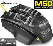 Sharkoon Shark Zone M50 Laser Gaming Mouse -Yellow LED illumination , Solid, aluminum alloy bottom , Avago ADNS-9800 laser sensor with 8,200 DPI , Symmetric design, also suitable for left-handers , Interchangeable side panels for individual adjustments , 7 programmable buttons , Textile braided cable , Gold-plated USB plug , Retail Box , 1 Year warranty