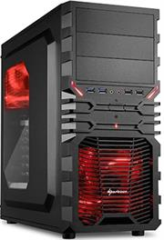 Sharkoon VG4-W Midi Tower PC Gaming Case Red with Window, USB 3.0, Mounting possibilities: 3x 5.25″ drive bays (external) or 2x 5.25″ drive bays + 1x 3.5″ bay (external) + 3x 3.5″ hard drive bays (internal) + 4x 2.5″ SSDs/HDDs (internal), Front I/O: 2x USB 3.0 (internal 19-pin mainboard connector incl. USB 2.0 plug), two USB 2.0 as well as two audio plugs – NO PSU, Retail Box , 1 Year warranty