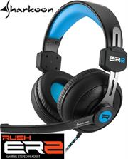 Sharkoon Rush ER2 Circumaural Stereo Headset with Microphone – Blue, Retail Box , 1 year Limited Warranty