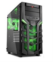 Sharkoon DG7000-G ATX Gaming Case with Extra-large Tempered Glass Side Panel – 2x 5.25 inch Drive Bays with tool-free installation , Up to 3 x 3.5 inch Hard Drives (Internal) , Vertical support for up to 2x 2.5 inch HDD/SSDs , Front I/O with 2x USB3.0, 2x USB2.0, 2xAudio , 7 x Expansion slots ,2x 140 mm LED fan (pre-installed) Front Panel , 1x 140 mm LED fan (pre-installed) Rear Panel , Dimensions (L x W x H): 47.0 x 21.0 x 47.0 cm , No PSU-Green / Black , Retail Box , 1 Year warranty