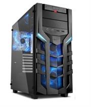 Sharkoon DG7000-G ATX Gaming Case with Extra-large Tempered Glass Side Panel – 2x 5.25 inch Drive Bays with tool-free installation , Up to 3 x 3.5 inch Hard Drives (Internal) , Vertical support for up to 2x 2.5 inch HDD/SSDs , Front I/O with 2x USB3.0, 2x USB2.0, 2xAudio , 7 x Expansion slots ,2x 140 mm LED fan (pre-installed) Front Panel , 1x 140 mm LED fan (pre-installed) Rear Panel , Dimensions (L x W x H): 47.0 x 21.0 x 47.0 cm , No PSU-Blue / Black , Retail Box , 1 Year warranty