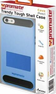 Promate Cove iPhone 5 Trendy Tough Shell Case,perfect for on-the-go users, Made with highly durable polycarbonate with inner exible grip material,Colour: Blue , Retail Box , 1 Year Warranty