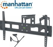 Manhattan Universal LCD Full-Motion Corner Wall Mount – Holds 37 inch to 63 inch TVs weighing up to 60 kg/132 lbs.; adjustment options to tilt, swivel and level; black, Retail Box , 1 year Limited Warranty