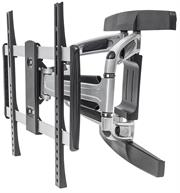 Manhattan Universal Aluminum LCD Full-Motion Wall Mount – Holds One 32″ to 55″ Flat-Panel or Curved TV up to 50 kg (110 lbs.); Adjustment Options to Tilt, Swivel and Level; Black & Silver, Retail Box , 1 year Limited Warranty