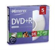 Memorex Dvd+R 5 Pack Recordable Media, Retail Box , No Warranty