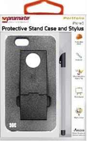 Promate Portfolio iPhone 5 Snap-on design Protective Stand Case and Stylus for iPhone 5 / 5s-Grey, Retail Box , 1 Year Warranty