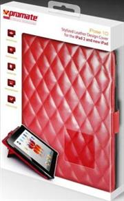 Promate iPose.10-Stylized Leather Design Cover for the iPad 2 and new iPad-Red, Retail Box, 1 Year Warranty