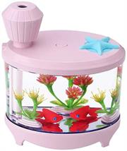 Casey Fish Tank Shaped Multifunctional Portable 460ml USB Humidifier Air Purifier Mist Maker with LED light For Home Office and Car-PINK Retail Box No warranty