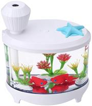 Casey Fish Tank Shaped Multifunctional Portable 460ml USB Humidifier Air Purifier Mist Maker with LED light For Home Office and Car-White Retail Box No warranty