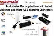 Promate Pocketmate LT Pocket-size Back-up battery with in-built Lightning and Micro-USB charging ( Portable power bank with three concealed interfaces:Apple charger, a micro-USB charger and a USB dock to power the device ) Connector for Ipod and Iphone,Power capacity: 2600mAh,Rated input: 5V/1A,Charging time: 3-4hours, colour:Black, Retail Box, 1 Year Warranty