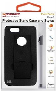 Promate Portfolio iPhone 5 Snap-on design Protective Stand Case and Stylus for iPhone 5 / 5s-Black, Retail Box , 1 Year Warranty