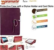 Promate Agenda Premium Protective Leather Case with Stylus Holder and Card Slot for iPad Air-Purple, Retail Box, 1 Year Warranty