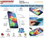 Promate PrimeShield S5 , Ultra-Thin Tempered Optical Glass Screen Protector For Samsung Galaxy S5 , Retail Box , 1 Year Warranty