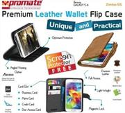 Promate Zimba S5 Bookcover case Colour:Brown , Retail Box , 1 Year Warranty