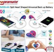Promate Couple 5200mAh Split Heart Universal Back up Battery, Retail Box , 1 Year Warranty