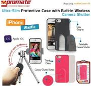 Promate selfieCase-i5 Ultra-Slim Protective case with Built-in Wireless Camera Shutter – Black, Retail Box , 1 Year Warranty