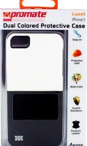 Promate Lunet iPhone 5 Durable case with a cut-out design Colour: White / Black, Retail Box , 1 Year Warranty