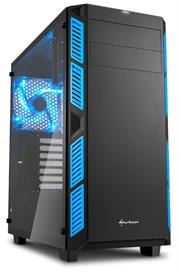 Sharkoon AI7000 Glass Window ATX Tower PC Gaming Case Blue with Side Window – USB 3.0, Mounting possibilities: 1x 5.25″ Optical Drive bay, 1x 3.5″ hard drive bays, 2x 3.5″ or 2.5″ hard drive bay, 2x 2.5″ hard drive bays, 1x 3.5″ or 2.5″ hard drive bays, 1x 5.25″ to 3.5″ bay cover, Front I/O: 2x USB 3.0 (internal 19-pin mainboard connector incl. USB 2.0 plug), 2x USB 2.0, Front Audio – NO PSU, Retail Box , 1 Year warranty