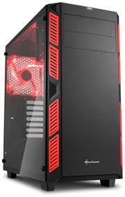 Sharkoon AI7000 Glass Window ATX Tower PC Gaming Case Red with Side Window – USB 3.0, Mounting possibilities: 1x 5.25″ Optical Drive bay, 1x 3.5″ hard drive bays, 2x 3.5″ or 2.5″ hard drive bay, 2x 2.5″ hard drive bays, 1x 3.5″ or 2.5″ hard drive bays, 1x 5.25″ to 3.5″ bay cover, Front I/O: 2x USB 3.0 (internal 19-pin mainboard connector incl. USB 2.0 plug), 2x USB 2.0, Front Audio – NO PSU, Retail Box , 1 Year warranty