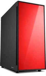 Sharkoon AM5 Window ATX Tower PC Gaming Case Red with Side Window – USB 3.0, Mounting possibilities: 1x 3.5″ hard drive bays, 2x 3.5″ or 2.5″ hard drive bay, 2x 2.5″ hard drive bays, Front I/O: 2x USB 3.0 (internal 19-pin mainboard connector incl. USB 2.0 plug), 2x USB 2.0, Front Audio – NO PSU, Retail Box , 1 Year warranty