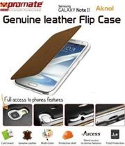 Promate Aknol-Premium Leather Flip Case for Samsung Galaxy Note 2-Brown Retail Box 1 Year Warranty