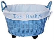 Totally Blue Weaved Toy Basket with Wheels Retail Box Out of Box failure Warranty
