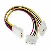 UniQue 4 Pin Molex Power Supply Fan Splitter Y Cable- One Female 4 Pin Connector and Two Male 4 Pin Connectors, OEM, No Warranty