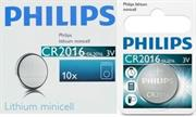 Philips Minicells Battery CR2016 Lithium Sold as Box of 10, Retail Box , No Warranty