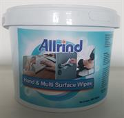 Allrind Hand and Multi Surface Sanitizing Wet- Wipes 500 Sheets- Alcohol Formula to protect against Covid-19, Contains 70% Denatured Ethanol Alcohol, A Hand Moisturiser and Glycerine That Has Antimicrobial And Antiviral Properties, 500 Sheets per Bucket Retail Box No Warranty