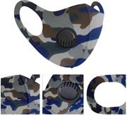 Casey Reusable 3D Structured Unisex Dual Layer Face Masks With Breath Valve Colour Camo Blue -Masks Are Washable, Reusable, And Can Be Folded For Easy Carrying, Breath Valve Closes When You Inhale And Opens When You Exhale, 3D Structured Dual Layer Design Make The Masks Fits Any Shape Of Face Perfectly, Not Medical Grade, Skin-Friendly Breathable Fabric For People With Skin Sensitive Allergies, Fit Comfortably Around Ears Blue, White, Grey and Brown Retail Box No Warranty