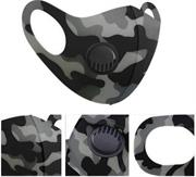 Casey Reusable 3D Structured Unisex Dual Layer Face Masks With Breath Valve Colour Classic Camo Grey -Masks Are Washable, Reusable, And Can Be Folded For Easy Carrying, Breath Valve Closes When You Inhale And Opens When You Exhale, 3D Structured Dual Layer Design Make The Masks Fits Any Shape Of Face Perfectly, Not Medical Grade, Skin-Friendly Breathable Fabric For People With Skin Sensitive Allergies, Fit Comfortably Around Ears- Grey Black and White Retail Box No Warranty