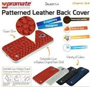 Promate Charm.S4 Premium Patterned-Leather Back Cover-for Samsung Galaxy S4-Maroon , Retail Box, 1 Year Warranty