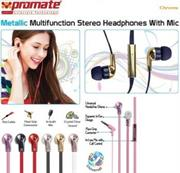 Promate Chrome Metallic Multifunction Stereo Headphones With Mic – Champagne, Retail Box, 1 Year Warranty
