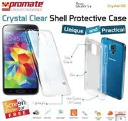 Promate Crystal-S5 ,Crystal Clear Shell Protective Case For Samsung Galaxy S5 Colour: Clear White , Retail Box , 1 Year Warranty