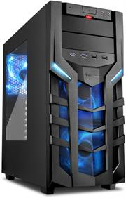 Sharkoon (4044951018215) DG7000 ATX Tower PC Gaming Case Blue with Side Window – USB 3.0, Mounting possibilities: 1x 5.25″, 1x 5.25″ or 3.5″, 1x 5.25″ to 3.5″ Bay Cover, 1x 3.5″, 2x 3.5″ or 2.5″, 2x 2.5″, Front I/O: 2x USB 3.0 (internal 19-pin mainboard connector incl. USB 2.0 plug), 2x USB 2.0, Front Audio – NO PSU, Retail Box , 1 Year warranty