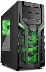 Sharkoon (4044951018208) DG7000 ATX Tower PC Gaming Case Green with Side Window – USB 3.0, Mounting possibilities: 1x 5.25″, 1x 5.25″ or 3.5″, 1x 5.25″ to 3.5″ Bay Cover, 1x 3.5″, 2x 3.5″ or 2.5″, 2x 2.5″, Front I/O: 2x USB 3.0 (internal 19-pin mainboard connector incl. USB 2.0 plug), 2x USB 2.0, Front Audio – NO PSU, Retail Box , 1 Year warranty