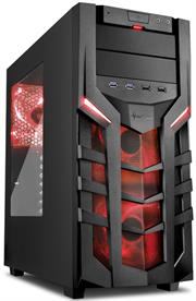 Sharkoon (4044951018192) DG7000 ATX Tower PC Gaming Case Red with Side Window – USB 3.0, Mounting possibilities: 1x 5.25″, 1x 5.25″ or 3.5″, 1x 5.25″ to 3.5″ Bay Cover, 1x 3.5″, 2x 3.5″ or 2.5″, 2x 2.5″, Front I/O: 2x USB 3.0 (internal 19-pin mainboard connector incl. USB 2.0 plug), 2x USB 2.0, Front Audio – NO PSU, Retail Box , 1 Year warranty