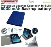 Promate Dash-Air Protective Leather Case with In-Built 8000 mAh Back-up battery-DarkBlue, Retail Box, 1 Year Warranty